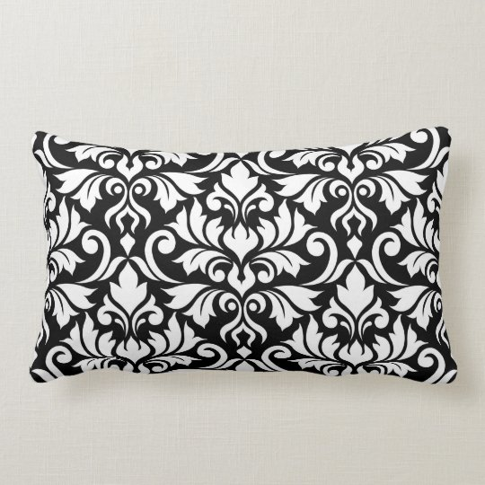 Flourish Damask Big Pattern White on Black Lumbar Pillow