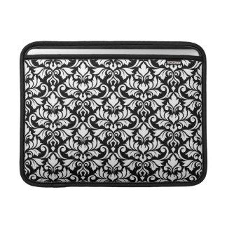Flourish Damask Big Pattern White on Black MacBook Sleeve