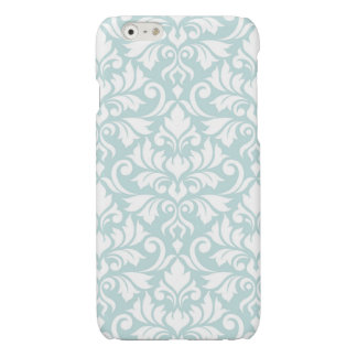 Flourish Damask Big Pattern White on Duck Egg Blue