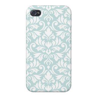 Flourish Damask Big Pattern White on Duck Egg Blue Cases For iPhone 4