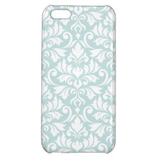 Flourish Damask Big Pattern White on Duck Egg Blue iPhone 5C Case