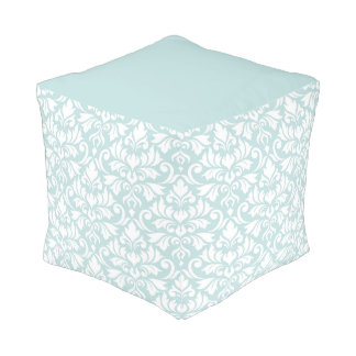 Flourish Damask Big Pattern White on Duck Egg Blue Pouf