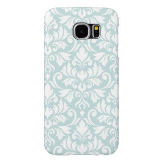 Flourish Damask Big Pattern White on Duck Egg Blue Samsung Galaxy S6 Cases