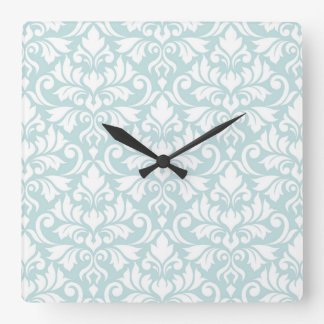Flourish Damask Big Pattern White on Duck Egg Blue Square Wall Clock
