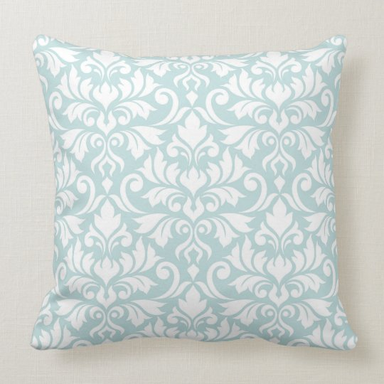 Flourish Damask Big Pattern White on Duck Egg Blue Throw Pillow