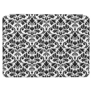 Flourish Damask (H) Pattern Black on White iPad Air Cover