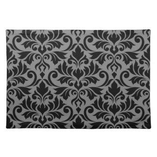 Flourish Damask Lg Pattern Black on Gray Placemat