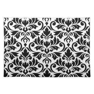 Flourish Damask Lg Pattern Black on White Placemat