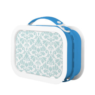 Flourish Damask Lg Pattern Duck Egg Blue on White Lunch Box