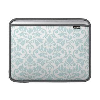 Flourish Damask Lg Pattern Duck Egg Blue on White MacBook Sleeve