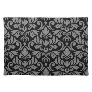 Flourish Damask Lg Pattern Gray on Black Placemat