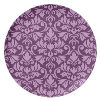 Flourish Damask Lg Pattern Pink on Plum Plate