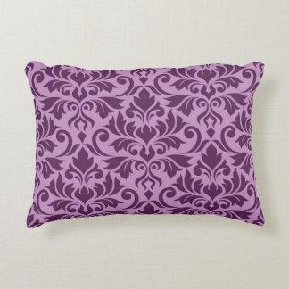 Flourish Damask Lg Pattern Plum on Pink Decorative Pillow