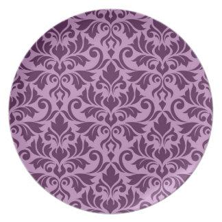 Flourish Damask Lg Pattern Plum on Pink Plate