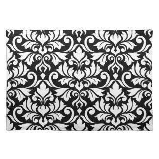 Flourish Damask Lg Pattern White on Black Placemat