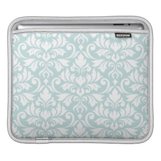 Flourish Damask Lg Pattern White on Duck Egg Blue iPad Sleeve