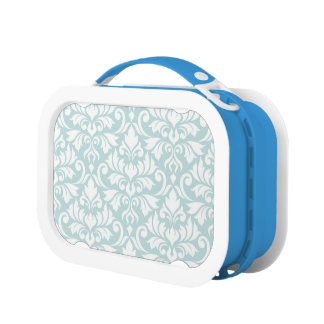 Flourish Damask Lg Pattern White on Duck Egg Blue Lunch Box