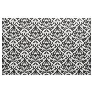 Flourish Damask Pattern Black on White Fabric