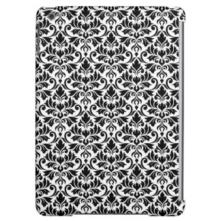 Flourish Damask Pattern Black on White iPad Air Covers
