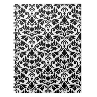 Flourish Damask Pattern Black on White Notebook