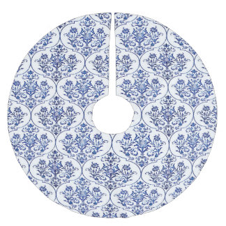 Flourish Damask Pattern - blue Brushed Polyester Tree Skirt