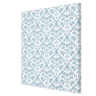 Flourish Damask Pattern Blue on Cream Canvas Print