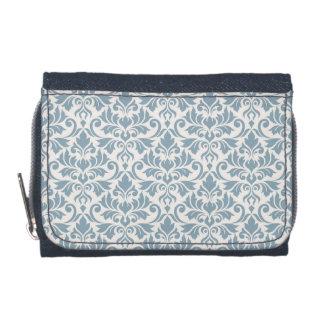 Flourish Damask Pattern Blue on Cream Wallets