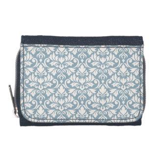 Flourish Damask Pattern Cream on Blue Wallets