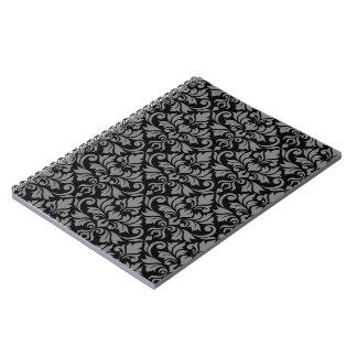 Flourish Damask Pattern Gray on Black Notebook