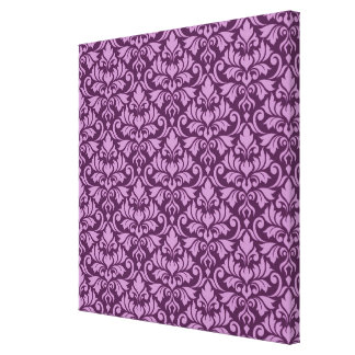 Flourish Damask Pattern Pink on Plum Canvas Print