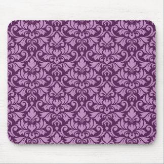 Flourish Damask Pattern Pink on Plum Mouse Pad