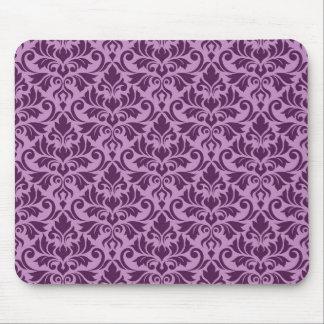 Flourish Damask Pattern Plum on Pink Mouse Pad