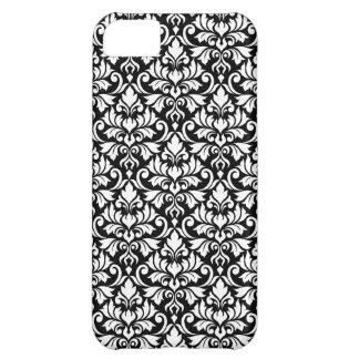 Flourish Damask Pattern White on Black iPhone 5C Covers