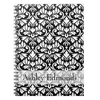Flourish Damask Ptn White on Black (Personalized) Notebooks