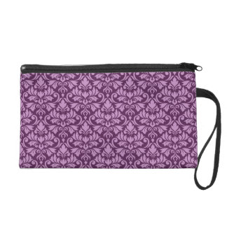 Flourish Damask Rpt Pattern Pink on Plum Wristlet