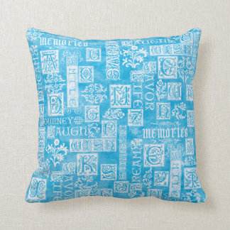 Flourish Design Verse Winter Blue Throw Pillow