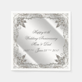 Flourish Diamond 60th Anniversary Paper Napkins