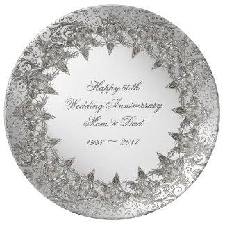 Flourish Diamond 60th Anniversary Porcelain Plate