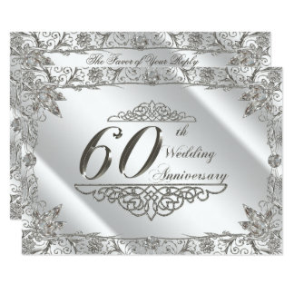 Flourish Diamond 60th Wedding Anniversary RSVP Card