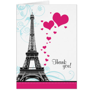 Flourish Eiffel Tower Parisian Love Thank You Card