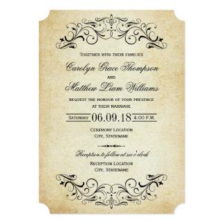 Flourish élégant vintage des invitations   de