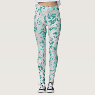 Flourish emerald green white leggings