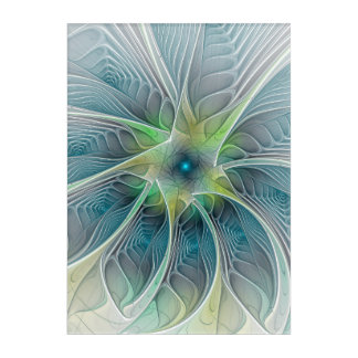 Flourish Fantasy Modern Blue Green Fractal Flower Acrylic Print