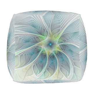 Flourish Fantasy Modern Blue Green Fractal Flower Pouf