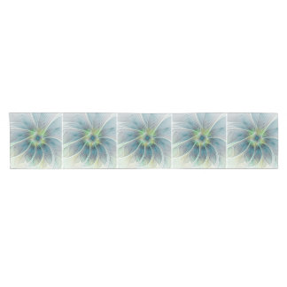 Flourish Fantasy Modern Blue Green Fractal Flower Short Table Runner