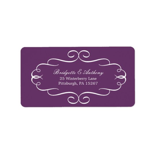 Flourish Frame Address Labels Customizable Colour