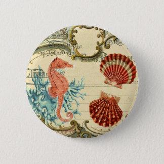 flourish french modern vintage seashell seahorse 2 inch round button