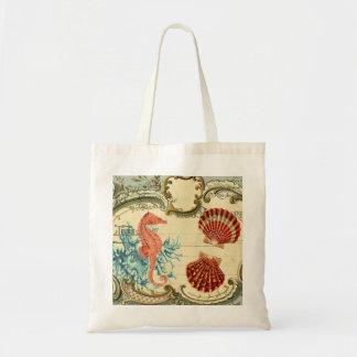 flourish french modern vintage seashell seahorse tote bag