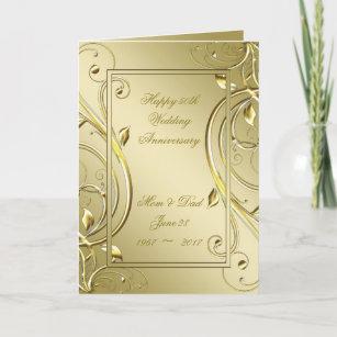 Flourish Gold 50th Wedding Anniversary Card