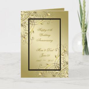 Flourish Gold Black 50th Wedding Anniversary Card
